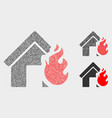 pixelated house fire disaster icons vector image vector image