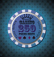 Poker chip 250 on blue background vector image vector image