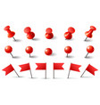 red pushpin flag and thumbtack isolated vector image