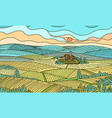 rural mountain landscape farm field and cabin vector image