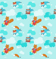 seamless pattern with cute superhero vector image vector image