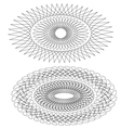 set of 2 pcs elipse shaped guilloche pattern vector image vector image