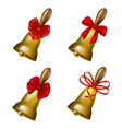 Set of school bells with red bows vector image