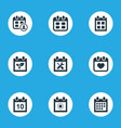 set of simple calendar icons elements date block vector image vector image