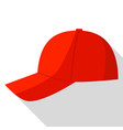 side view of red baseball cap icon flat style vector image vector image
