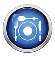 Silverware and plate icon vector image