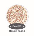 sticker with hand drawn pasta fusilli vector image