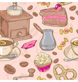 Sweet coffee and candies seamless pattern vector image vector image