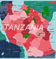 tanzania country detailed editable map vector image vector image