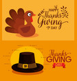 thanks giving card with turkey and pilgrim hat vector image