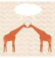 Two giraffes over stripy background vector image vector image