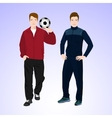 Two sports man with a soccer ball vector image