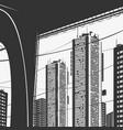 urban panorama skyscrapers and bridge graphics vector image vector image