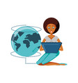 woman black sitting with laptop and planet earth vector image vector image