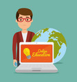 young man with laptop education online vector image vector image