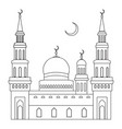 the mosque with domes and minarets with a crescent vector image