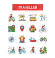 traveller thin line icons linear vector image