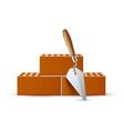 3d trowel with bricks industrial work vector image vector image