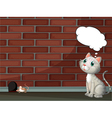 A cat thinking and a mouse vector image vector image
