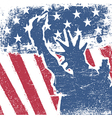 American flag and liberty statue silhouette grunge vector image vector image