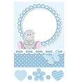 Baby hippo blue scrapbook set vector image