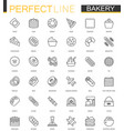 bakery thin line web icons set pastry outline vector image