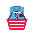 basket shirt clothes elegant online shopping vector image