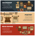bookshop or bookstore banners of library vector image