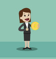 businesswoman holds coin in his hand and has vector image vector image