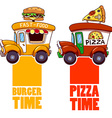 Cartoon fast-food car with a big hamburger and vector image