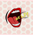cartoon mouth loud help stylish colored design vector image vector image