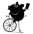 cartoon pig rides a vintage bike vector image vector image
