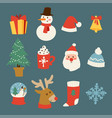 christmas icons symbols for greeting card vector image vector image