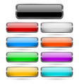 colored 3d glass buttons with chrome frame vector image
