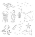 coloring page of sea animals vector image vector image
