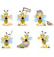 cute bee cartoon collection vector image vector image
