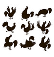 cute cartoon rooster silhouette vector image vector image