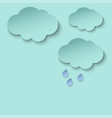 cyan paper cut clouds and rain drops 3d paper art vector image