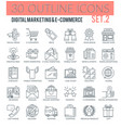 digital marketing and e-commerce outline icons vector image vector image