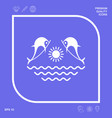dolphins with sun sea - logo graphic elements vector image