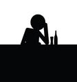 drunk man icon silhouette vector image vector image