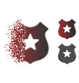 dust pixelated halftone police shield icon vector image vector image
