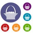 easter basket icons set vector image