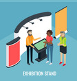 exhibition scene with sales promoter and customer vector image vector image