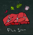 flat iron steak cut isolated on chalkboard vector image vector image