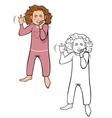 girl tantrum coloring book vector image