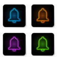 glowing neon ringing bell icon isolated on white vector image vector image