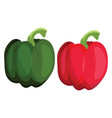 green and red bellpepper of vegetables on white vector image