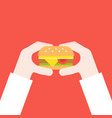 hand holding cheese burger fast food concept flat vector image vector image