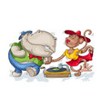 hippopotamus and monkey dancing vector image